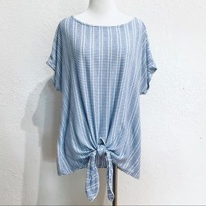Anthropologie W5 Blue White Stripe Tie Front Top